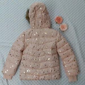 0c70be9c18e Girls Foil Star Print Faux Fur Puffer Small (5-6) NWT